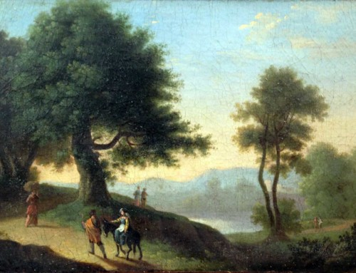 Herman Van Swanevelt: Figures in an Italianate Landscape